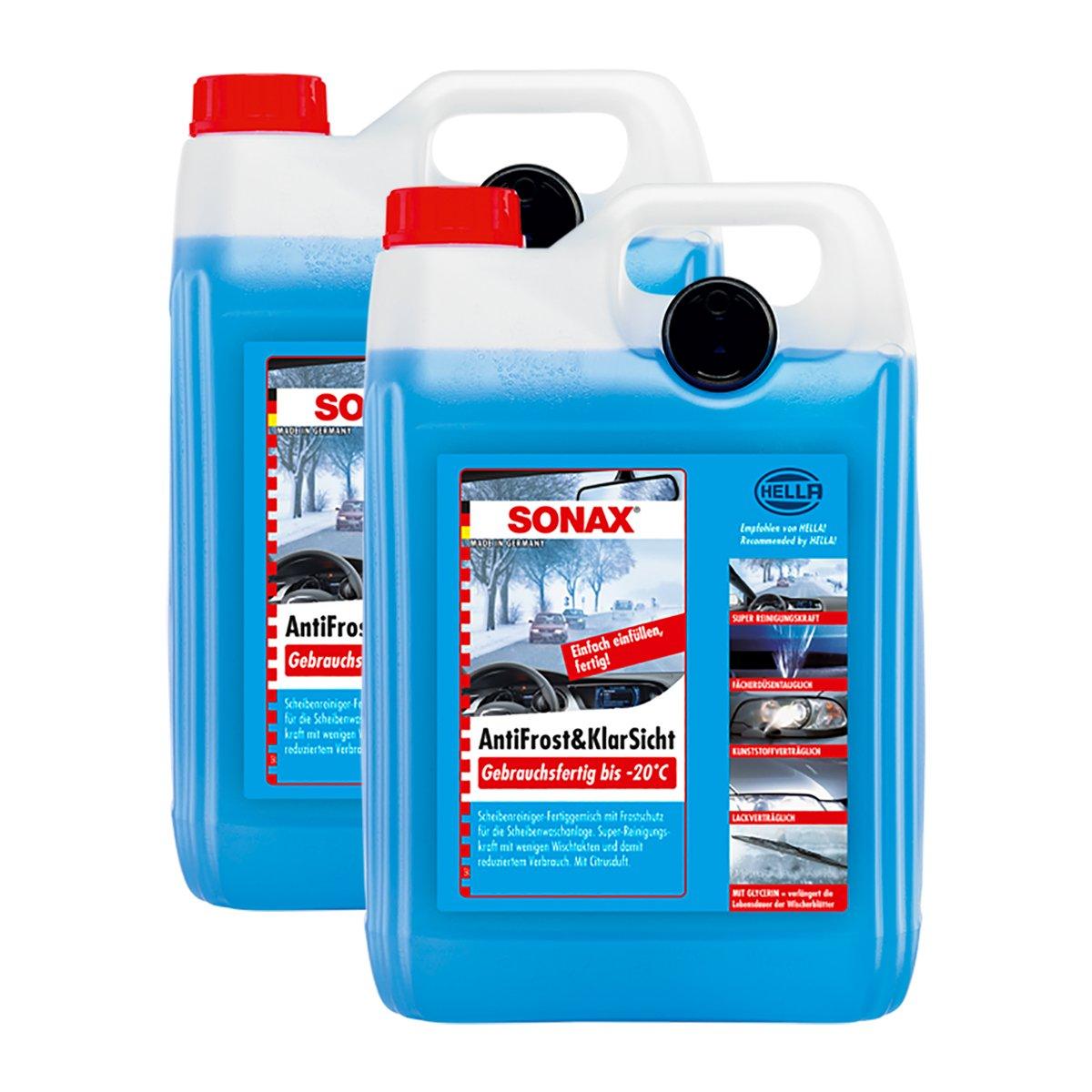 SONAX 2X 03325000 AntiFrost&KlarSicht gebrauchsfertig bis -20° C Frostschutz 5L