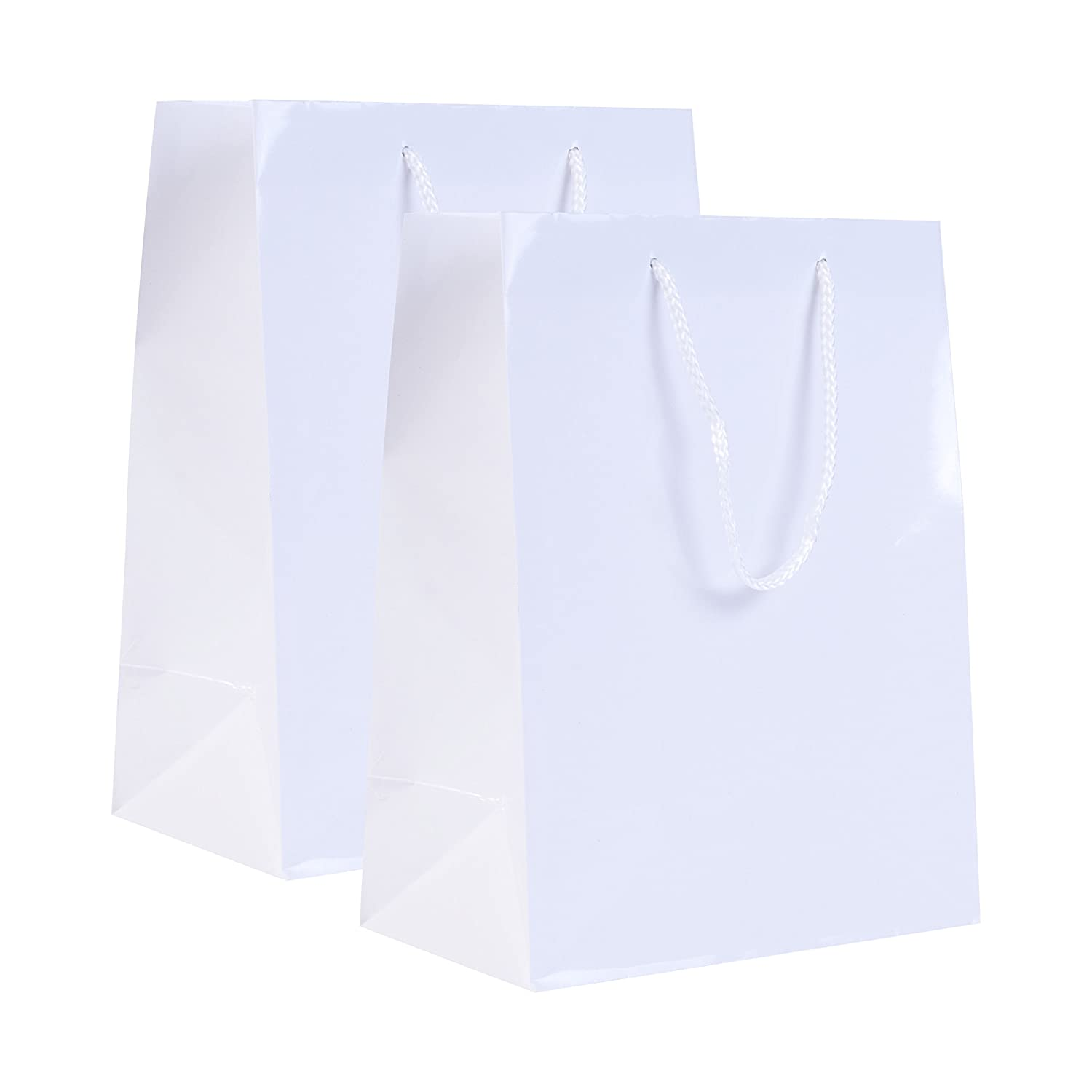 Incredible Packaging - 8' x 4.75' x 10' Small Retail Euro Tote Shopping Bags - Heavy Duty 157 GSM - Original Style Paper - Perfect for Merchandise, Retail, Party, Gift Bags. (White Gloss, 10 Bags)