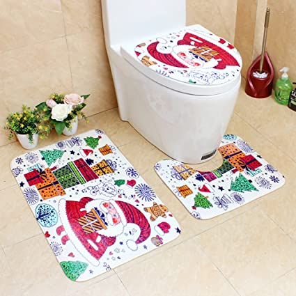 merry christmas bathroom rug sets 3 piece fabric bathroom decor three piece package 3pc - Christmas Bathroom Decor Amazon