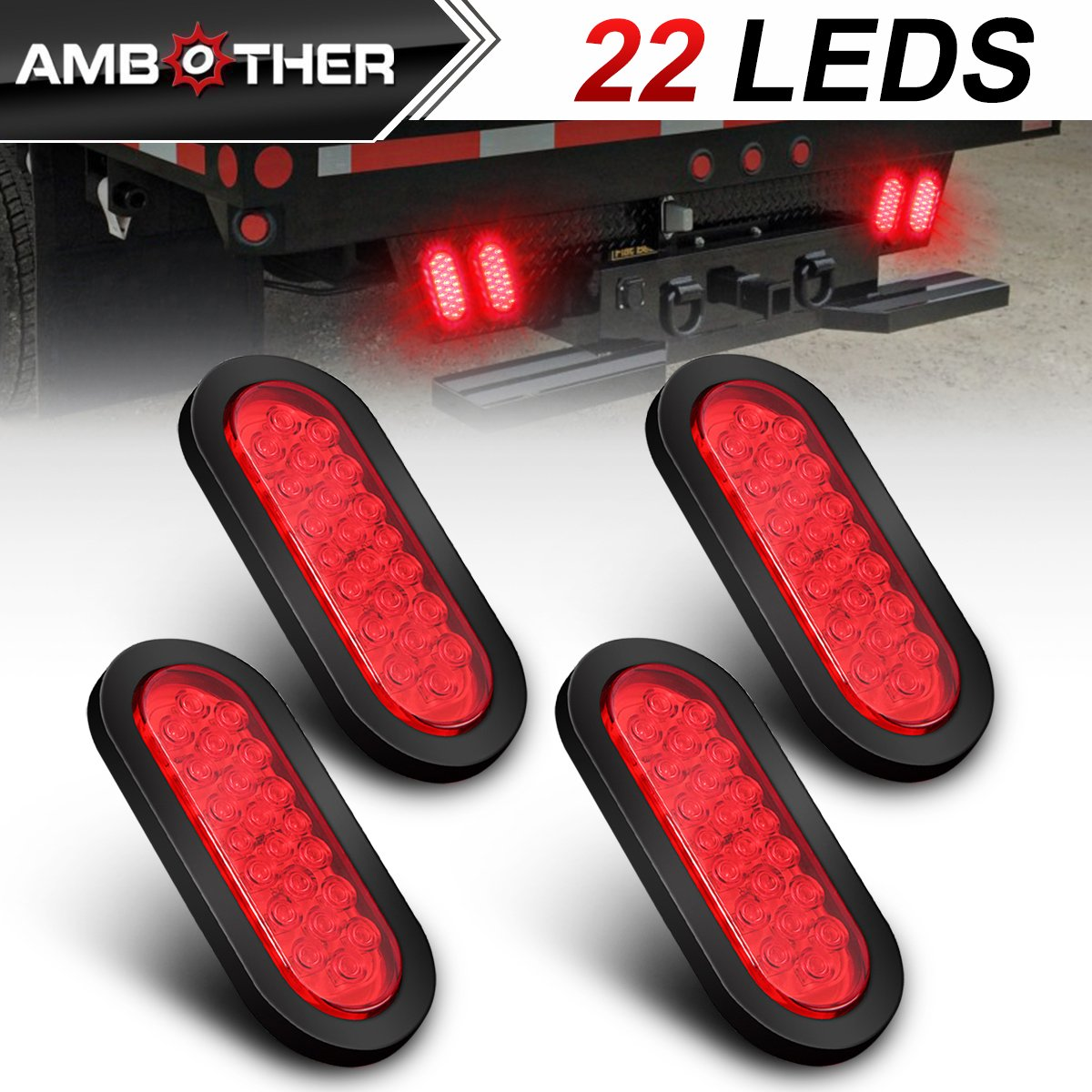 AMBOTHER 6' 22-LED Oval LED Trailer Lights Stop Turn Signal Brake Marker Tail Light, Flush Mount for Truck Trailer Trail Bus 12V Red (Pack of 2)