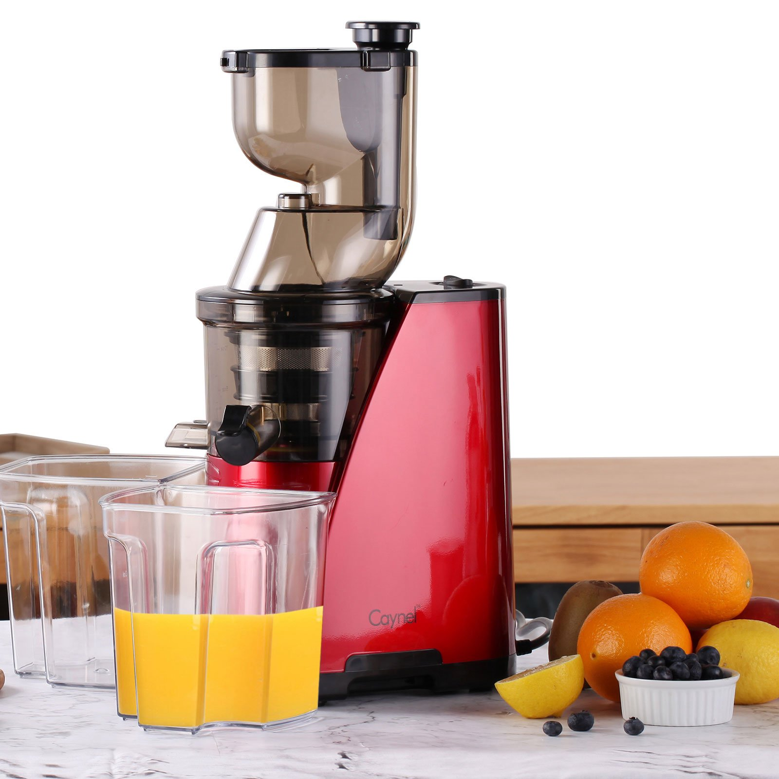 Caynel Whole Slow Masticating Cold Press Juicer Extractor Quiet Durable Motor, 3'' Big Mouth Wide Chute with Juice Jug, Brush and Extra Juice Bottle, Easy Cleaning Vertical Juicing Machine BPA Free