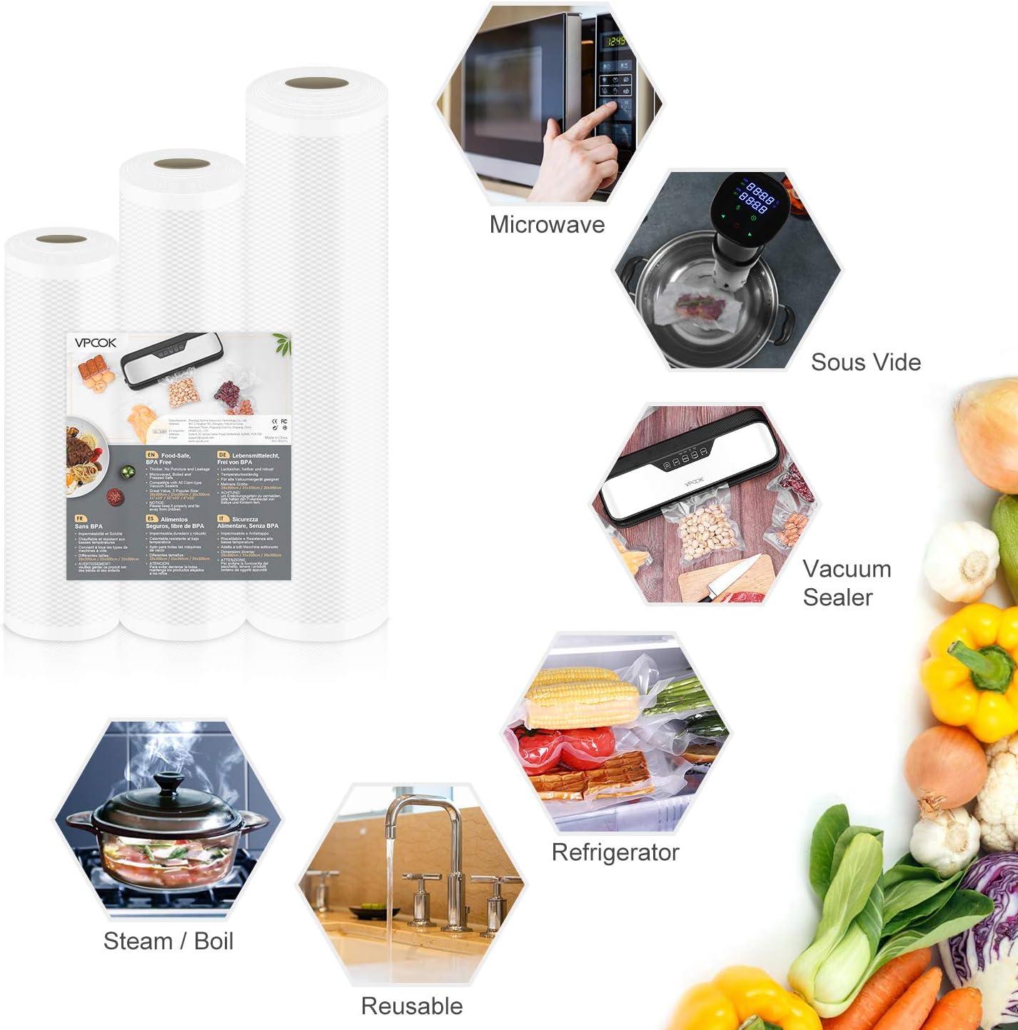 VPCOK Sac Sous Vide Rouleau Compatible Pour Divers de Machine sous vide 3 Packs 28//25 300cm sans BPA 20
