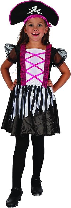 Disfraz pirata niña blanco y negro 10-12 años (140/152): Amazon.es ...