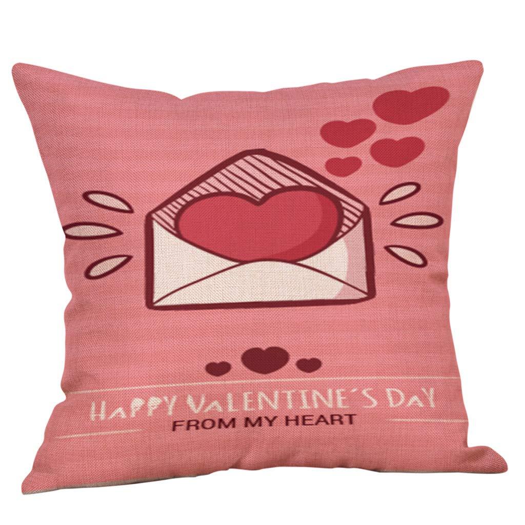 Happy Valentine's Day Sikye Cotton Linen Comfortable Love Print Decorative Throw Pillow Case Cushion Seat Cover,18''x18'' /45cm45cm (C)