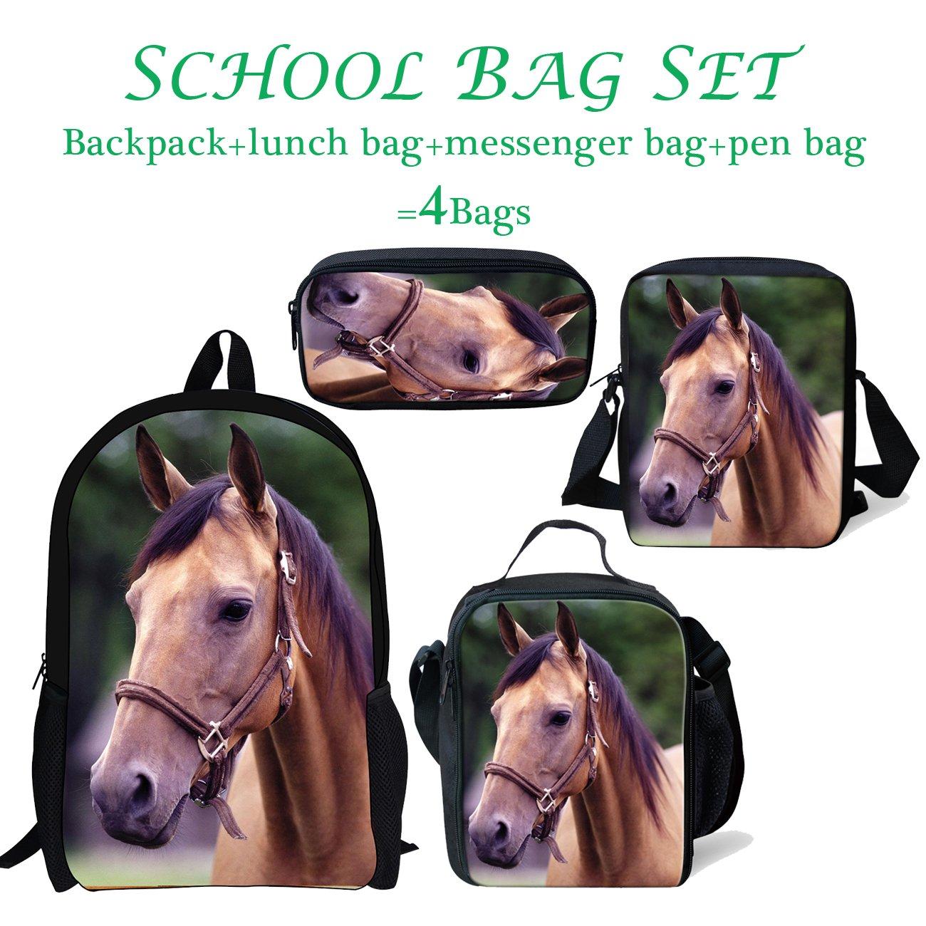 thikin便利ポータブルキッズランチバッグ絶縁熱食品バッグボックス調節可能なストラップ付きGalaxy Starかわいい猫パターン 17 inch ブルー B07FQP1G96 4 Kids School Bags Set #11