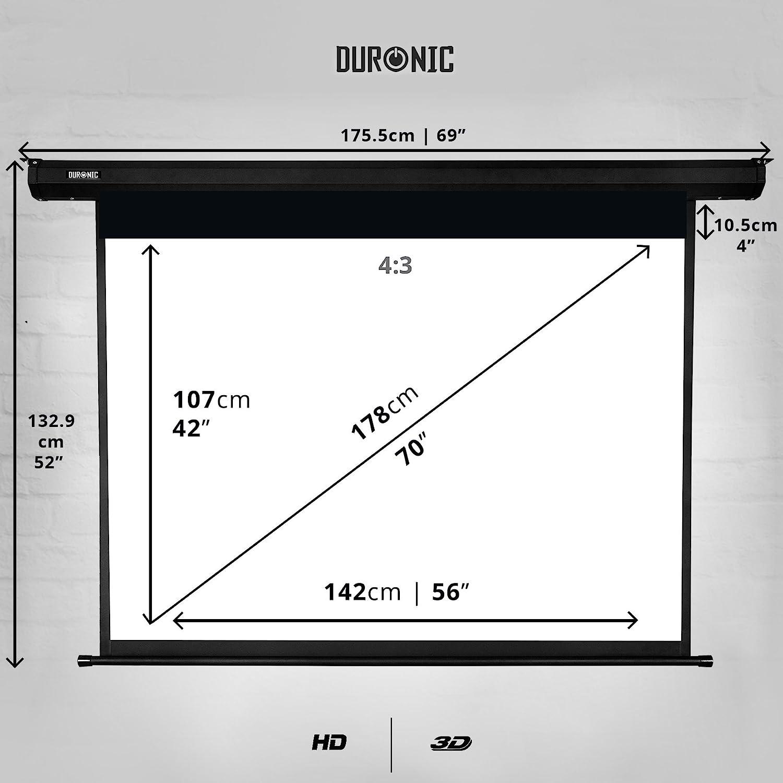 """Duronic EPS70 /43 Pantalla de Proyección 70"""" Pulgadas (142 cm X ..."""