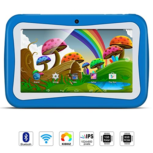 Kids 7 inch Tablet PC, Android 5.1 Lollipop Quad Core Tablet External 3G, 8GB ROM 1GB RAM, Wifi Bluetooth USB Dual Camera Games Kidoz(with Blue Silicone Case)