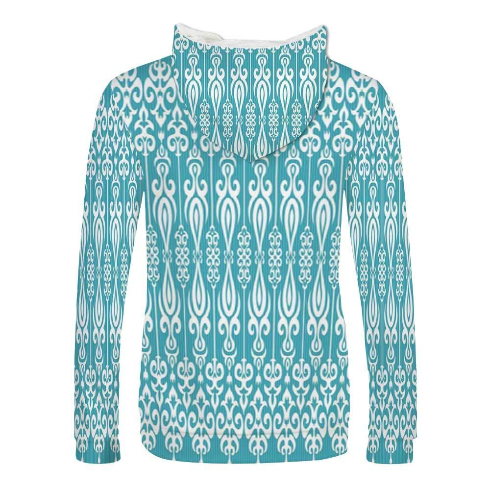 Aqua Sweatshirt,Ethnic Tribal Sun Flower with Dots Geometric Vintage Hippie Round Art Decorative Hooded for Men /& Boys,Small