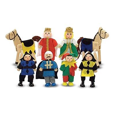 Melissa & Doug Castle Poseable Wooden Doll Set (8 pcs) for Castle and Dollhouse (8-10 cm Each): Melissa & Doug: Toys & Games [5Bkhe0205987]