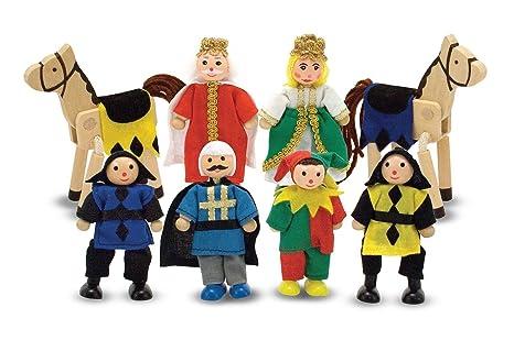 Melissa Doug Castle Poseable Wooden Doll Set 8 Pcs For Castle And Dollhouse 8 10 Cm Each
