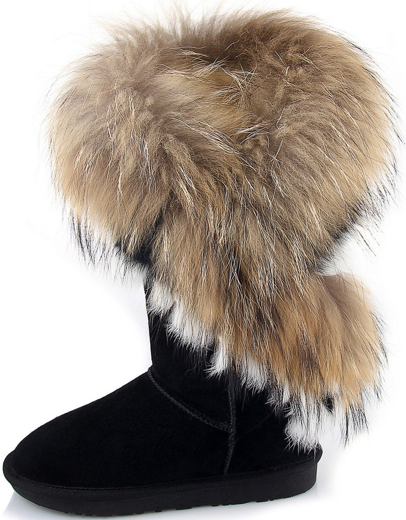 APHNUS Womens Mid Calf Boots Cow Leather Fur Snow Boots B011I2N5KK 6 M(USA) 22.5CM|Black