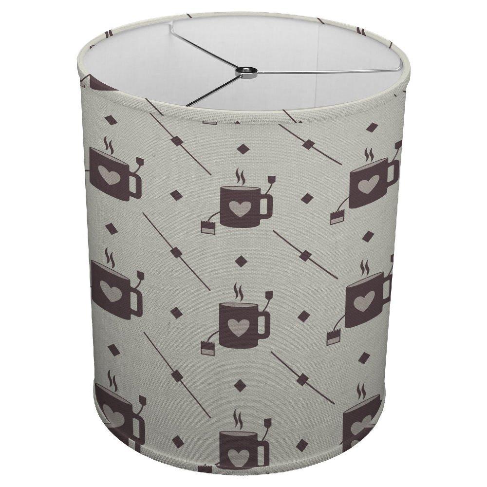 Hardback Linen Drum Cylinder Lamp Shade 8'' x 8'' x 8'' Spider Construction [ Coffee Cup Love Tea ]