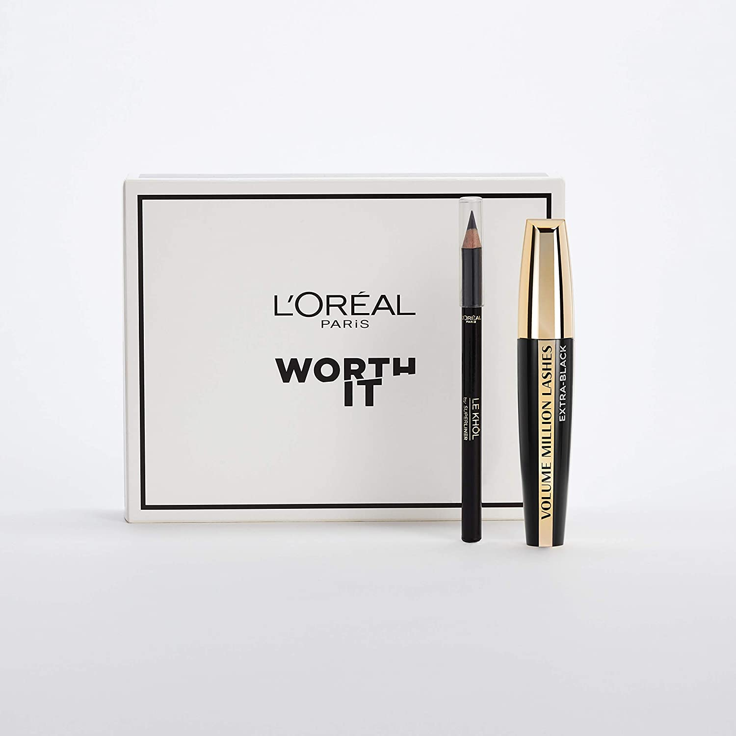 LOréal Paris Kit Máscara Volume Millon Lashes Extra Black y Lápiz de Ojos Superliner Le Khol Negro: Amazon.es: Belleza