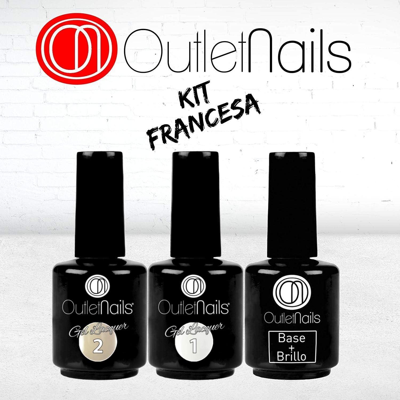 Pack Esmalte Permanente Manicura Francesa UV/LED - 15ml / Francesa/Color natural/Base y Brillo: Amazon.es: Belleza