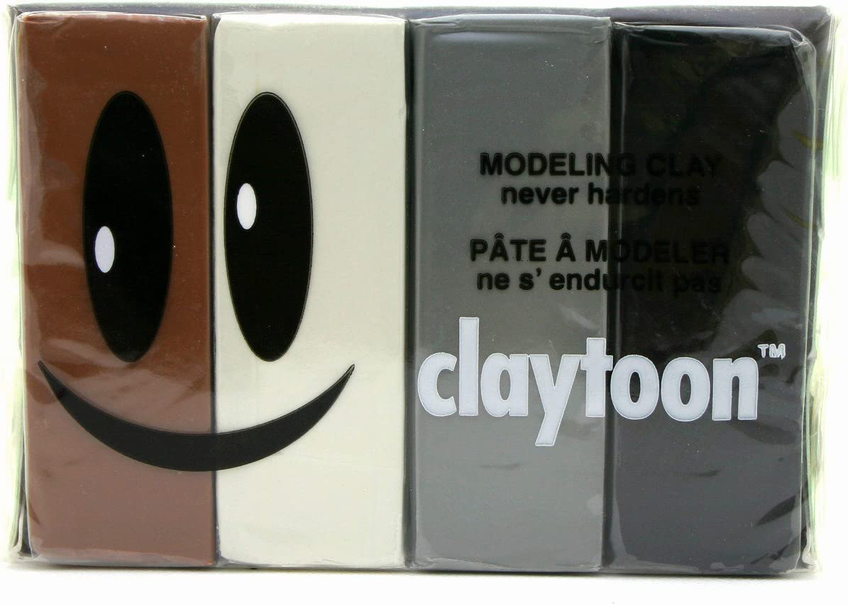 Brown Neutral Gluten-Free claymation Claytoon 4-1//4 Pound Bars 1 Pound Set Non-Toxic White Van Aken International Black Silver Gray Non-Hardening Modeling Clay VA18153