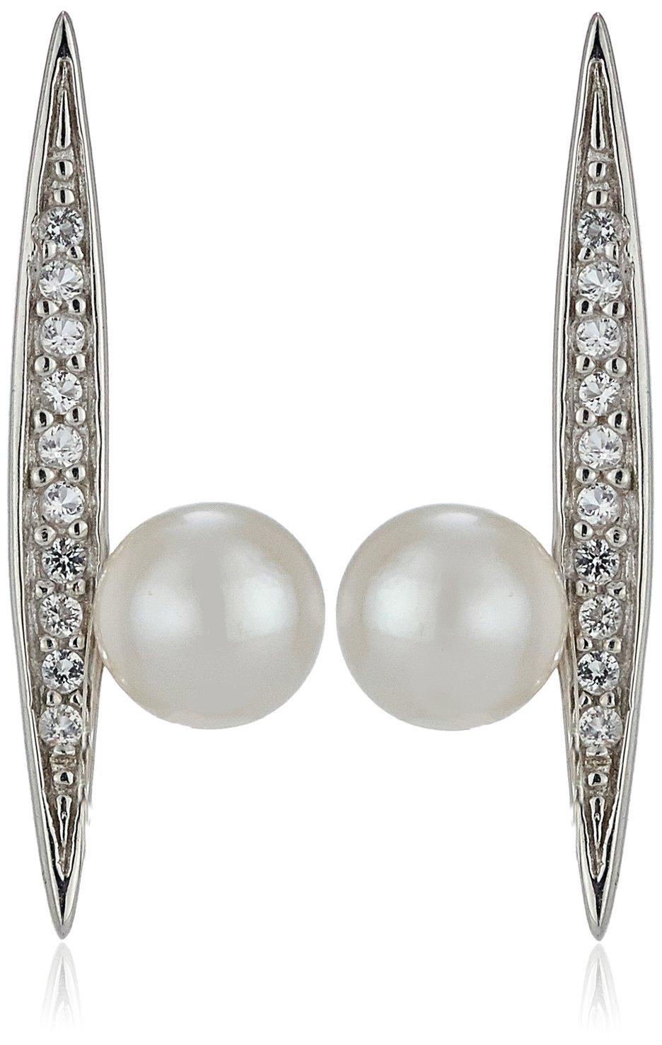 TARA Pearls 5X5.5mm Akoya Flying Pearl Sterling Silver Earrings with White Topaz Ear Cuffs