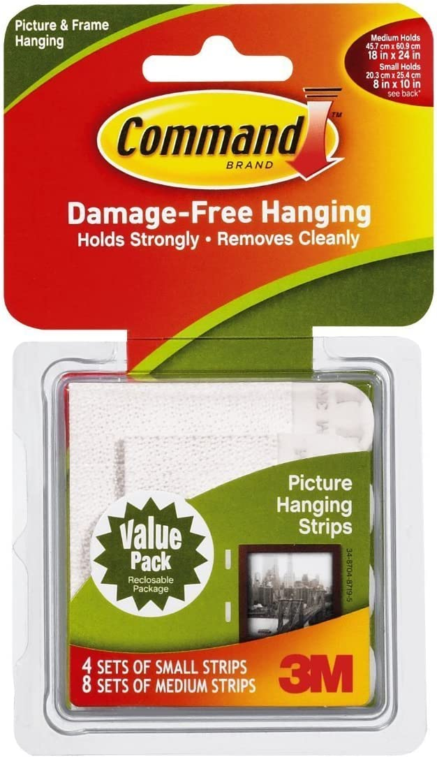 Command 4-packages of Small & Medium Picture Hanging Strips, Indoor Use (17203-ES)