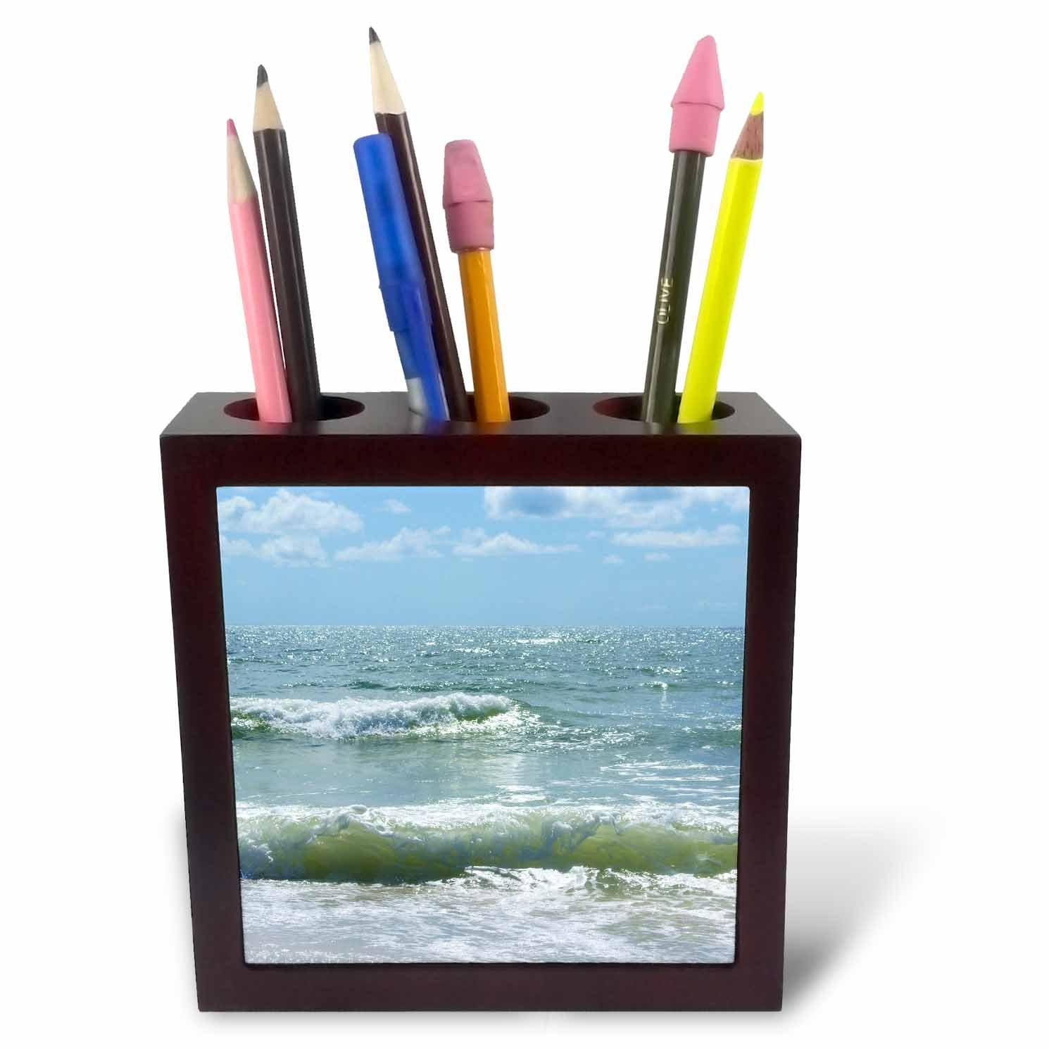 3dRose ph/_16777/_1 Beach Waves II-Tile Pen Holder 5-Inch