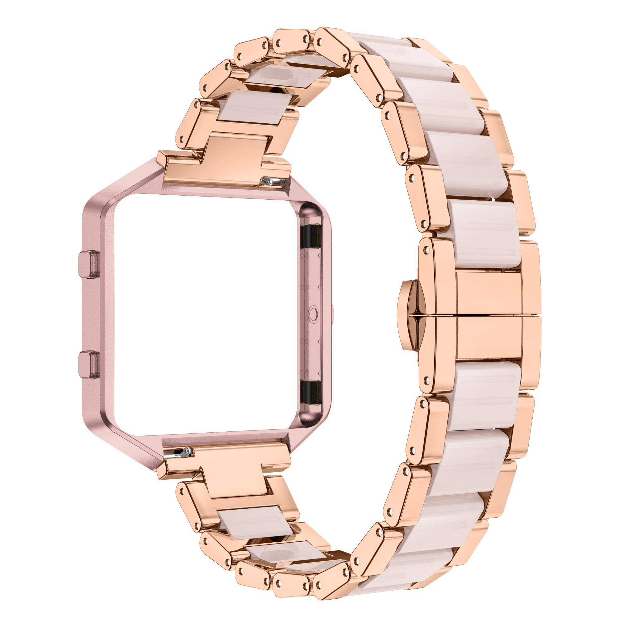 Wearlizer Compatible for with Fitbit Blaze Band Bands for Women Metal Wristband Replacement Fitbit Blaze Band with Frame Resin Bracelet Fit bit Blaze Resin Rose Gold