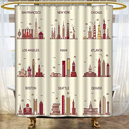 Image Unavailable Not Available For Color Mikihome Shower Curtains Sets Bathroom American Cities San Francisco