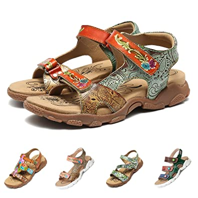 d44e4b275164 gracosy Women Flats Sandals Summer Outdoor Sport Athletic Lightweight  Leather Walking Hiking Sandals Hook Loop Open Toe Trekking Sandals Cushion  Soft Sole ...