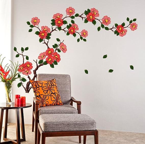 Decals Design 'Floral Branch Antique Flowers' Wall Sticker (PVC Vinyl, 50 cm x 70 cm, Multicolour)