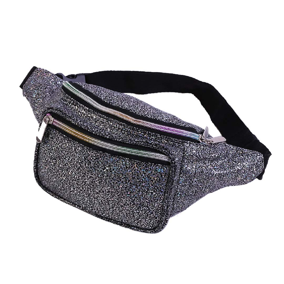 Dolores Fanny Pack Waist Bags for Women Men Fashion Belt Waist Bum Bag Hip Pack for Rave Festival Party Travel Beach Black Gravel