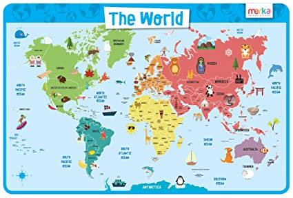 merka World Map - Educational Kids Placemats - Non Slip Washable on