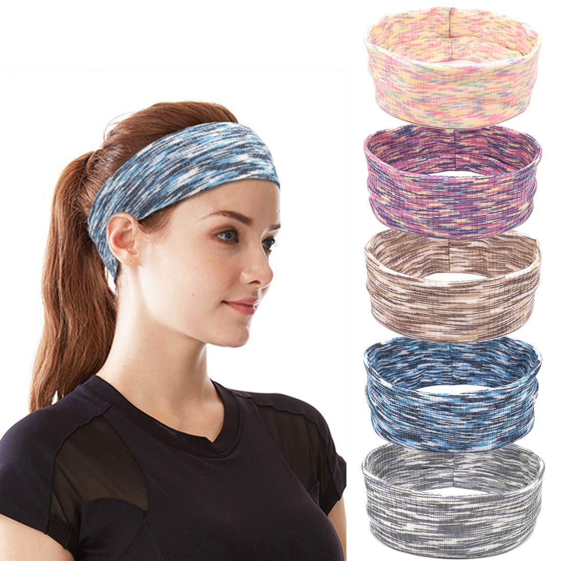 Meowoo Running Sport Sweatband 5Pcs Unisex Elastic Yoga Fitness Gym Head Band Hair Wrap Brace