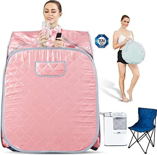 Hicient Steam Sauna Individual Home Spa-Indoor Portable Sauna Set Includes a Foot Pad,Remote Control
