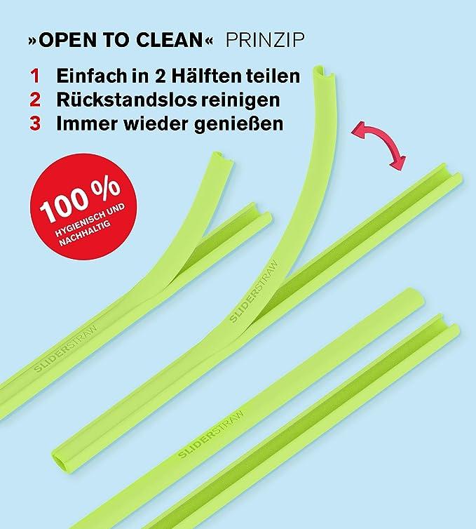 Classico Farbmix lang open-to-clean wiederverwendbar Trinkhalm Strohhalm