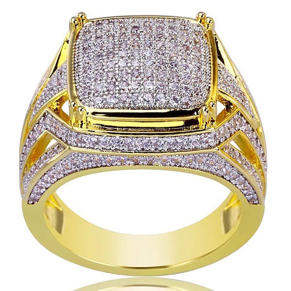 Slendima Shiny Rhinestones Inlaid Unisex Engagement Wedding Ring Bridal Groom Jewelry Golden US 6