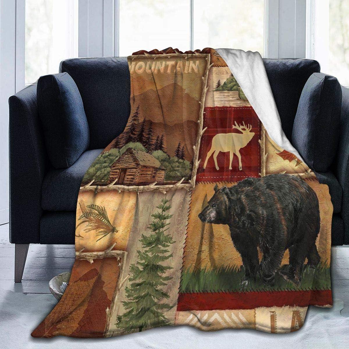 Cyloten Blanket Rustic Lodge Bear Moose Deer Fleece Blanket Foldrable Throw Blanket Washable Couch Sofa Fuzzy Blanket Reversible Plush Blanket Beach Blanket for Home Office