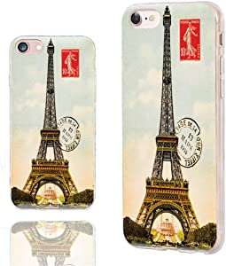 iPhone SE 2020 Case,iPhone 8 Case Cute,iPhone 7 Case Cool,ChiChiC Slim Flexible Soft TPU Rubber Protective Cases Cover for Apple iPhone 7 8 SE 2020 4.7 Inch,Vintage Postcard with Eiffel Tower in Paris