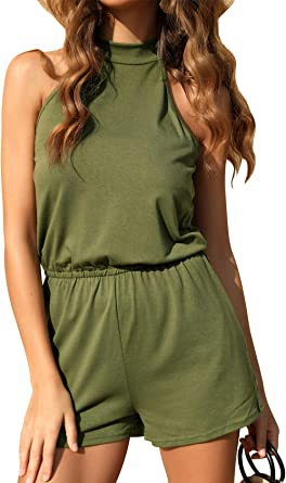 RAISEVERN Womens Summer Short Sleeve Romper Casual Jumpsuits Loose Playsuit with Pockets