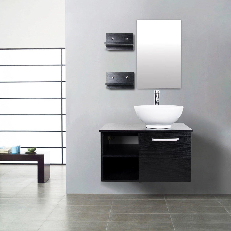 "Elecwish 28"" inch Wall Mount Vanity Cabinet Round Ceramic Vessel"