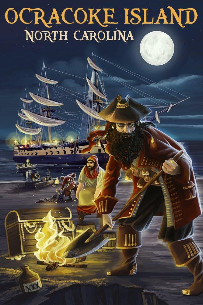 Ocracoke島、ノースカロライナ州 – Pirate andトレジャー 36 x 54 Giclee Print LANT-53066-36x54 36 x 54 Giclee Print  B017E9VZGM