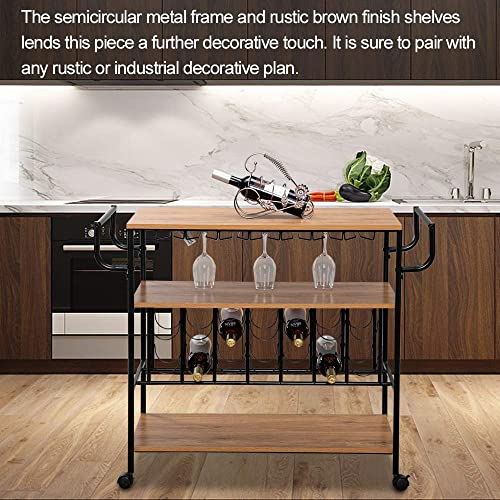 ColorJoy Industrial Bar Cart on Wheels for Home Wine Rack Cart with Glass Holder, Vintage Brown NO3