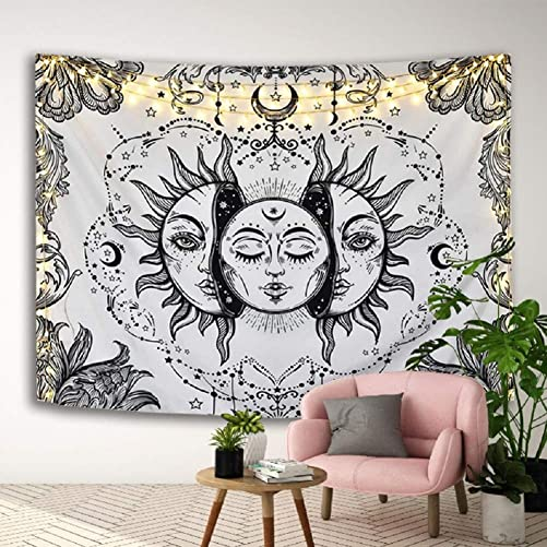 Libeder Tapestry Wall Hanging Sun Moon Wall Blanket Home Decorations for Living Room Bedroom Dorm Decor White Sun and Moon