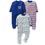 EIO® Born Baby Multi-Color Long Sleeve Cotton Sleep Suit Romper for Boys and Girls Set of 3