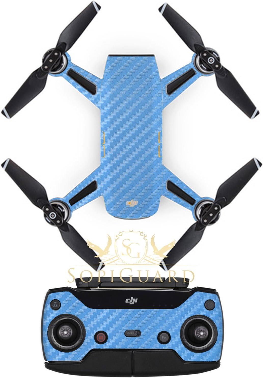 SopiGuard Sky Blue Carbon Fiber Precision Edge-to-Edge Coverage Vinyl Sticker Skin Controller 3 x Battery Wraps for DJI Spark