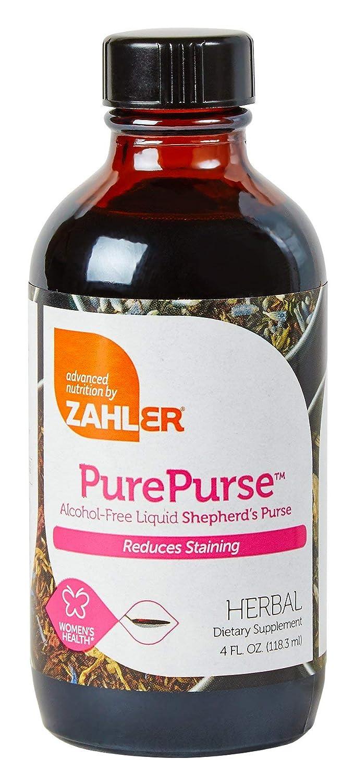 Zahler PurePurse, Liquid SHEPERD S PURSE which helps reduce staining, All Natural LIQUID Menstrual Support Formula, Certified Kosher,4oz