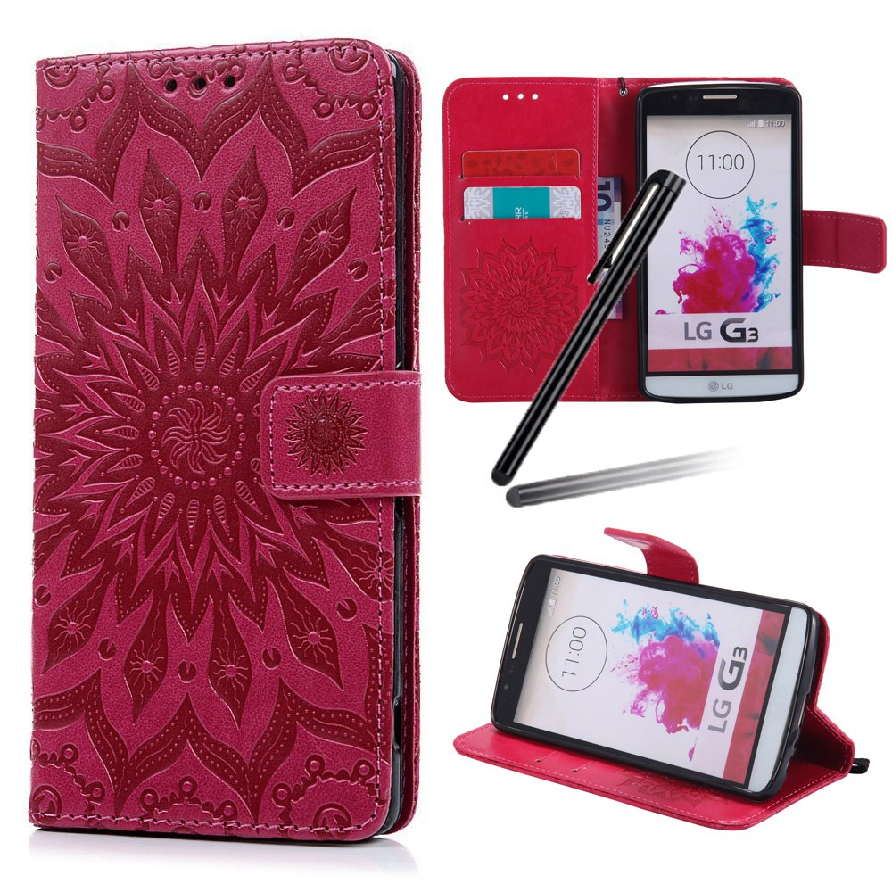 LG G3 Wallet Case, LG G3 Stand Case Girl, LG G3 Leather Cover, SKYMARS Sunflower Beautiful Art Painted Pattern Synthetic PU Leather Fold Wallet Pouch Case Wallet Flip Stand Credit Card ID Holders Protective Case Cover for LG G3 Sunflower Green