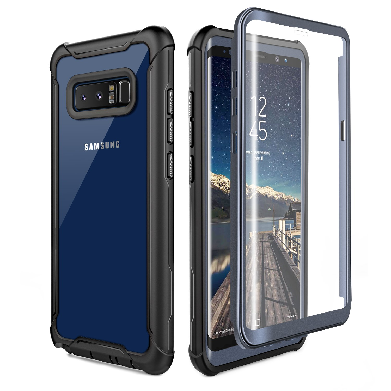 Samsung Galaxy Note 8 Cell Phone Case - Ultra Thin Clear Cover with Built-in Anti-Scratch Screen Protector, Full Body Protective Shock Drop Proof Impact Resist Extreme Durable Case, Black/Grey by FITFORT