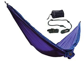 dc4cc6f9d3 Ticket to the Moon Parachute Silk Double Hammock with Rope Fixing Kit -  Purple Navy