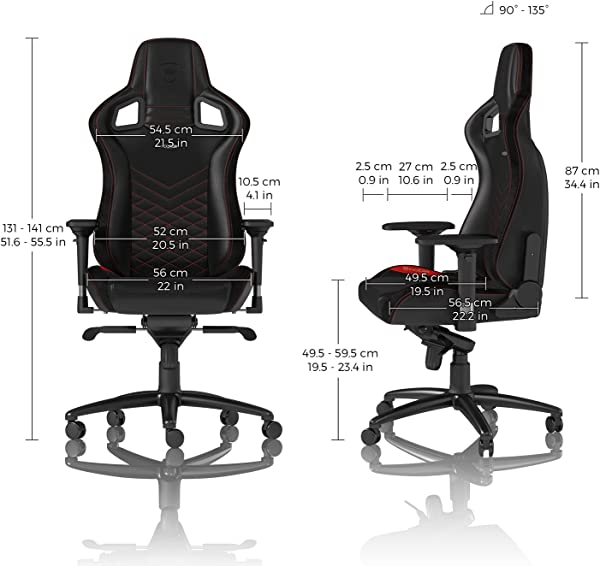 noblechairs Epic Gaming Chair - Office Chair - Desk Chair - PU Faux Leather - 265 lbs - 135° Reclinable - Lumbar Support Cushion - Racing Seat Design
