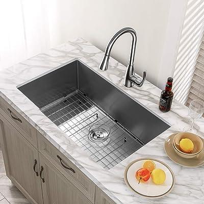Buy Kitchen Sink Mensarjor 32 X 19 Undermount Single Bowl 16 Gauge Stainless Steel Kitchen Sink With Accessories Online In Indonesia B07bntt77z