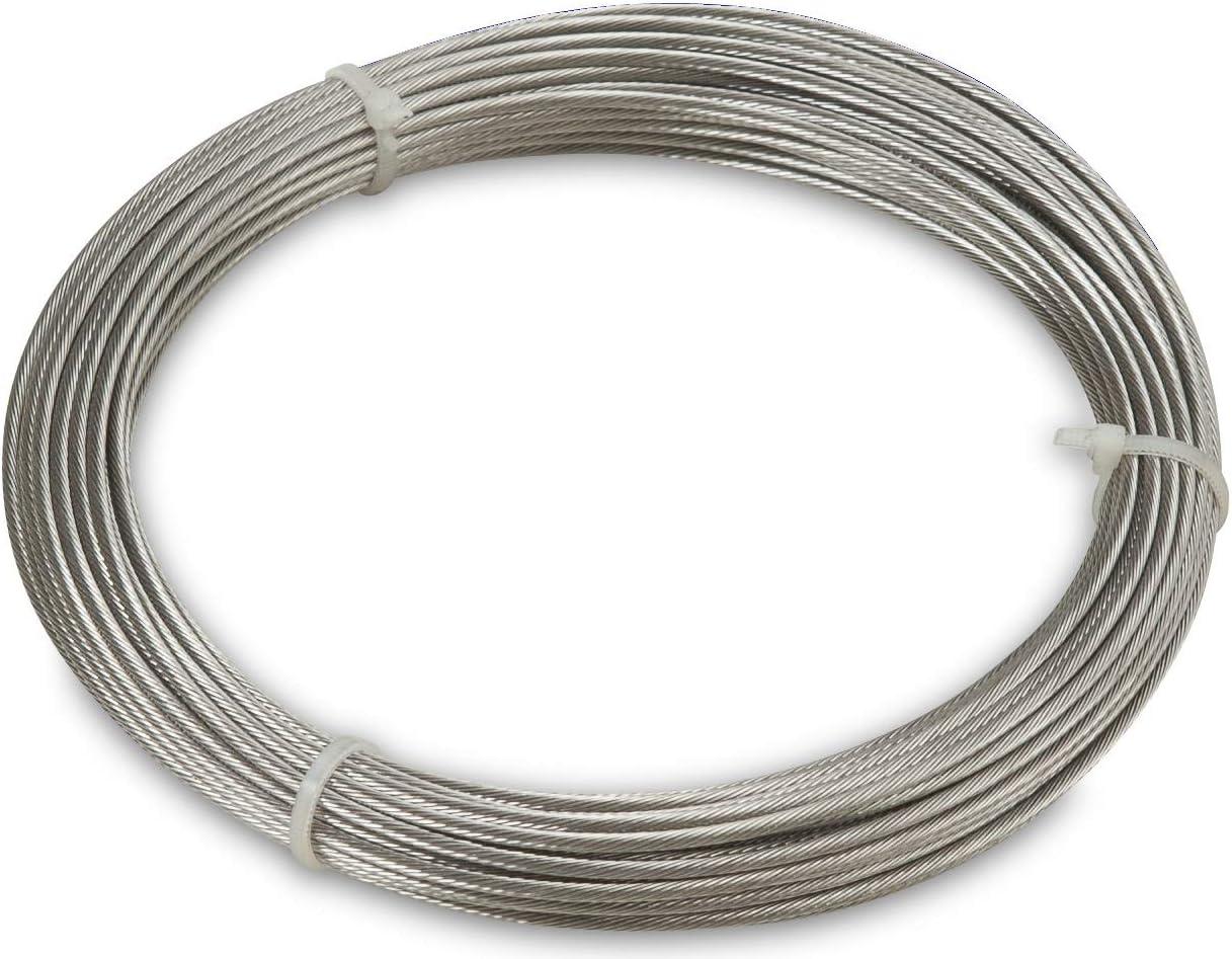 WINDHAGER Cable de Acero Inoxidable Montaje y tensado de toldos y marquesinas, 14m x 2mm, 10822, canoso
