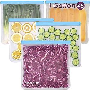 Reusable Gallon Freezer Bags (1 Gallon, Set of 5) - Leakproof Ziplock Reusable Storage Bags for Sandwich, Snack, Meat, Vegetables, Fruit etc.