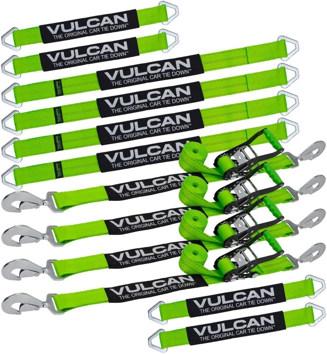 4 PROSeries 4 4 and 22 Axle Straps, VULCAN Complete Axle Strap Tie Down Kit with Snap Hook Ratchet Straps 36 Axle Straps 8 Snap Hook Ratchet Straps Includes